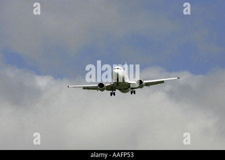 BMI Baby Boeing 737 aircraft on approach belfast international airport aldergrove county antrim northern ireland - Stock Photo