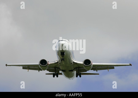 Boeing 737 aircraft on approach belfast international airport aldergrove county antrim northern ireland - Stock Photo