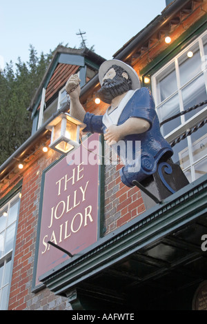 Sign of Jolly Sailor Pub in evening light Old Bursledon Hampshire England UK - Stock Photo