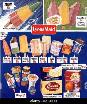 Old Lyons Maid ice cream poster - Stock Photo