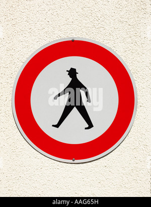 German pedestrian no walking sign, Germany, Europe - showing the iconic design - Stock Photo