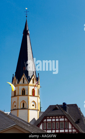 Steeple of the Pfarrkirche St Laurentius at Ahrweiler, Germany, Europe - Stock Photo