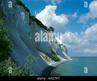 Precipitous white chalk sea cliffs of Møns Klint, Møn, Denmark Stock Photo