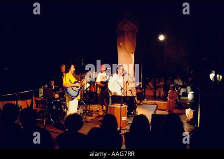 Summer concert at the roof of Casa Mila A Gaudi La Pedrera Barcelona Catalonia Spain