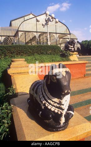 Nandi bull and Glass House Lalbagh Gardens Bangalore Karnataka  India - Stock Photo