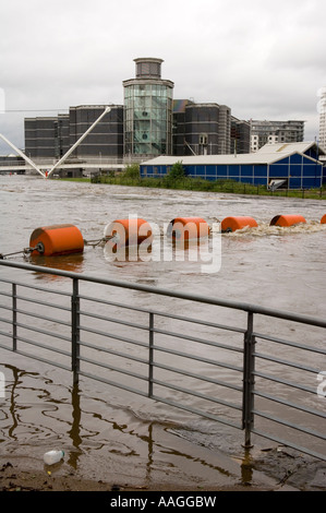 River Aire & Leeds Liverpool Canal had flooded & merged. View of Clarence Dock / Royal Armouries Leeds 25 June 2007 - Stock Photo