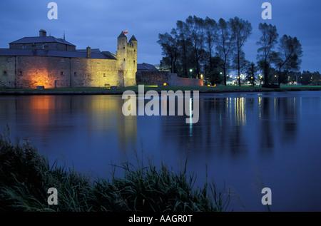 Illuminated Enniskillen Castle in the evening Lough Erne Enniskillen County Fermanagh Northern Ireland United Kingdom - Stock Photo