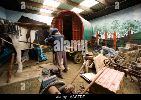 Ireland Co Donegal Inishowen Isle of Doagh Famine Village travellers tableaux with traditional caravan - Stock Photo