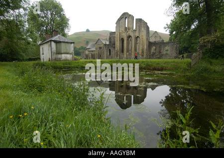 Valle Crucis Abbey near Llangollen North wales - ruined Cistercian abbey - Stock Photo