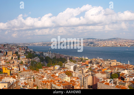 View of Istanbul and the Bosphorus from Galatasary Tower Istanbul - Stock Photo