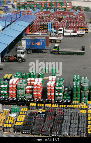 Oil manufacturing lubricants, industry, petroleum Middle East Lubricants Plant Jebel Ali Free Zone Dubai UAE - Stock Photo