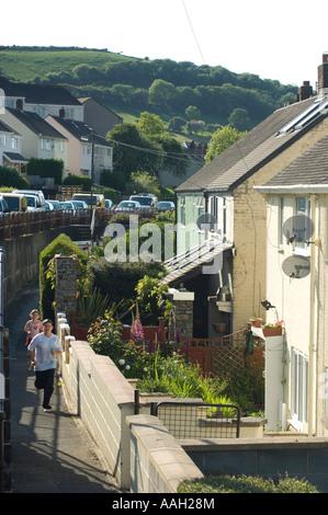 council houses social housing  Penparcau estate Aberystwyth Ceredigion wales - Stock Photo