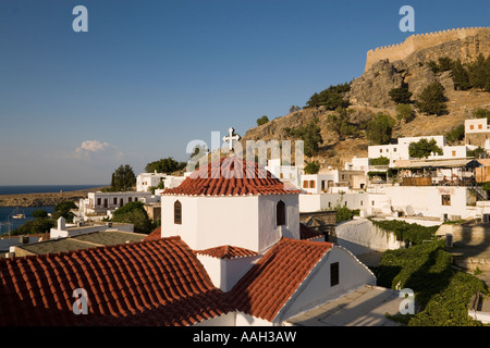 Part of the Panagia church at the foot of the Acropolis Lindos Rhodes Greece - Stock Photo