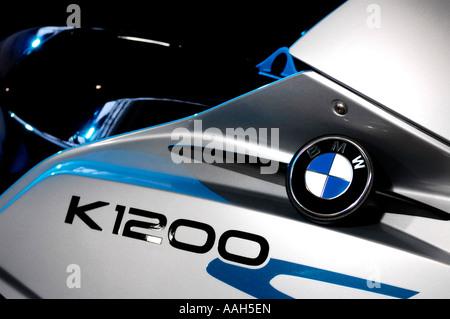 BMW K1200 motorcycle emblem close up - Stock Photo