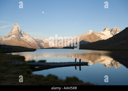 Matterhorn 4478 m reflected in Stellisee 2573 m Zermatt Valais Switzerland - Stock Photo