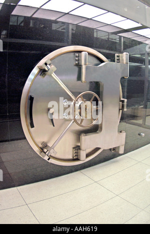Steel door of bank vault in New York City - Stock Photo