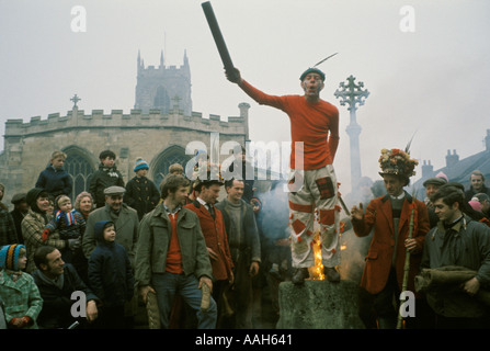 Haxey Hood Game. Smoking the Fool. Lincolnshire Annually on Feast of Epiphany January 6th HOMER SYKES - Stock Photo