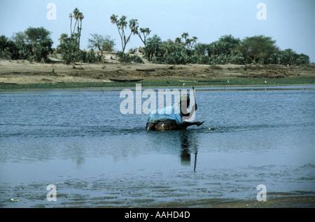 Fisherman in Lake Chad Chad Africa - Stock Photo