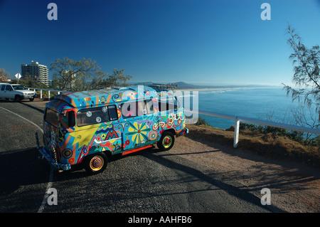 Ultimate escape machine on surfing safari VW Kombi Van dsc 1609 - Stock Photo