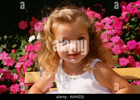 Girl 4 5 smiling portrait close up - Stock Photo