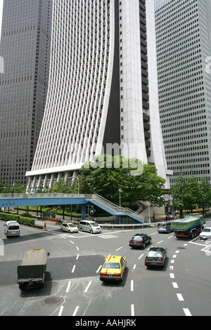 JPN Japan Tokyo Shinjuku district business district in front Sompo Japan Insurance Office Building - Stock Photo