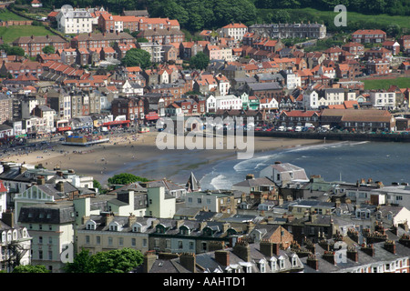 Aerial view of Scarborough south bay beach - Stock Photo