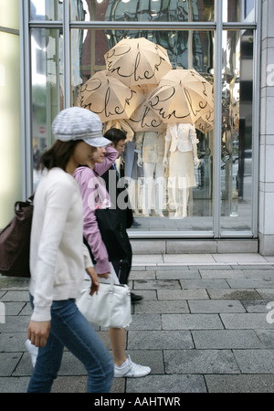 JPN Japan Tokyo Ginza elegant shopping and entertainments district Burberry store Chuo Dori Street - Stock Photo