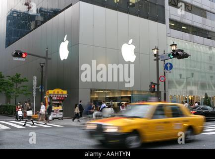 JPN Japan Tokyo Ginza elegant shopping and entertainments district Apple store on Chuo Dori Street - Stock Photo