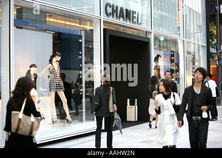 JPN Japan Tokyo Ginza elegant shopping and entertainments district Chanel Store on Chuo Doris Street - Stock Photo