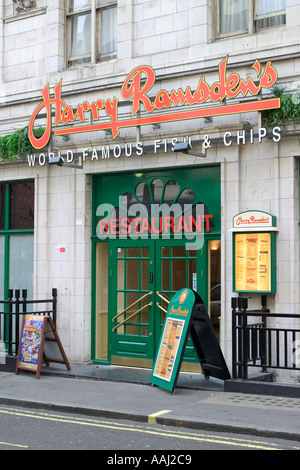 Harry Ramsdens World Famous Fish and Chips London England UK - Stock Photo
