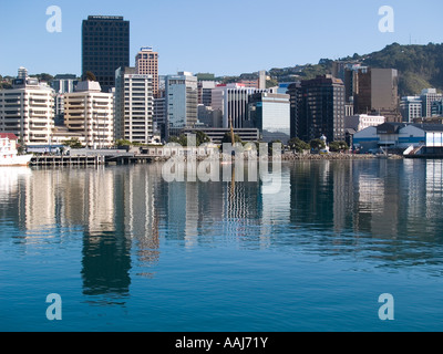 Cityscape harbour reflections CBD Wellington city New Zealand - Stock Photo