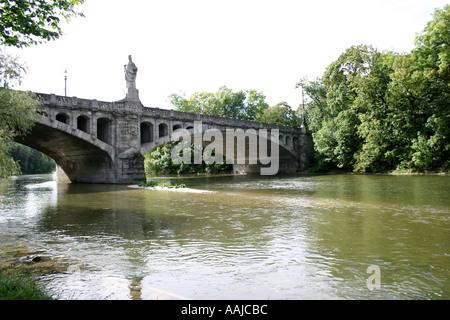 Maximilians bridge and statue Pallas Athene River Isar Munich Bavaria Germany - Stock Photo