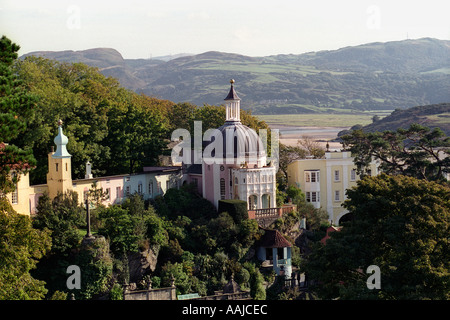 Domed building in the Italianate village designed by architect Clough Williams Ellis of Portmeirion Gwynedd Wales - Stock Photo