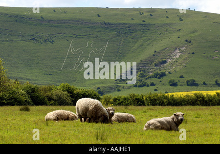 The Long Man of Wilmington on the South Downs near Eastbourne East Sussex England Picture by Andrew Hasson May 2005 - Stock Photo