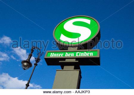 S Bahn sign at Unter den Linden, Berlin Germany - Stock Photo