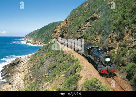 Tourists in steam train along Garden Route Western Cape South Africa - Stock Photo