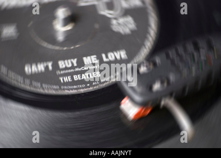 Beatles 45 rpm record of Can t Buy Me Love - Stock Photo