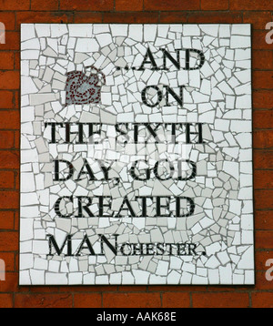 And on the sixth day god created MANchester mosaic Affleck s Palace Manchester UK - Stock Photo