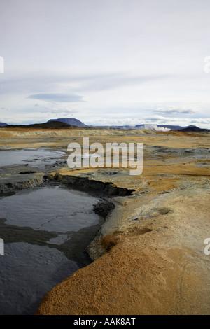 The volcanic Namaskaro landscape in Iceland - Stock Photo