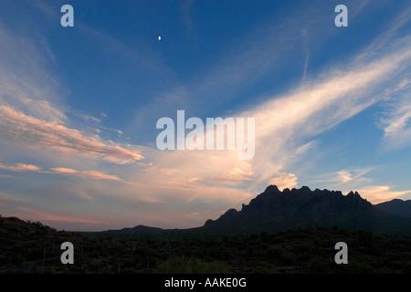 Ragged Top Mountain at Sunset Ironwood Forest National Monument Arizona - Stock Photo
