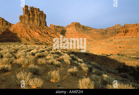 Butte in front of stormy sky Valley of the Gods Utah - Stock Photo