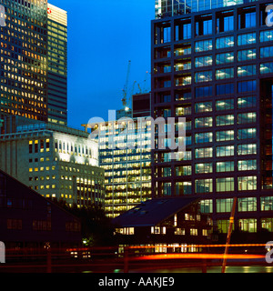dusk shot of Canary Wharf east London inc office blocks and residential buildings - Stock Photo