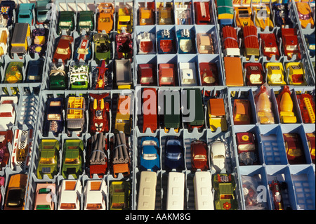 1980s COLLECTION MATCHBOX MATCH BOX CARS COLLECTIBLE TOYS ON FLEA MARKET TABLE - Stock Photo