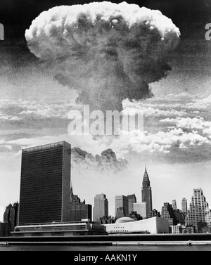 1950s 1960s MUSHROOM CLOUD OVER UNITED NATIONS BUILDING NEW YORK CITY WATERFRONT SKYLINE - Stock Photo
