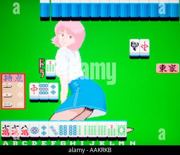 Mahjong Sisters Toa Plan Toaplan 1986 vintage arcade videogame screenshot - EDITORIAL USE ONLY - Stock Photo