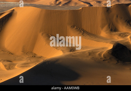 Group of walkers on ridge in the desert dwarfed by dunes high above - Stock Photo