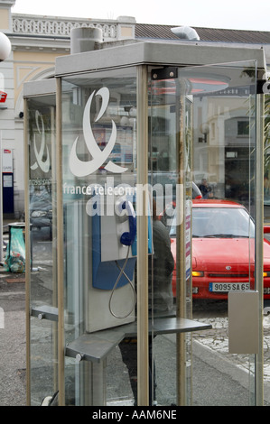 france, telecom, phone, call, call, caller, calling, telephone, box, kiosk, booth, public, french,  glass, ring, - Stock Photo