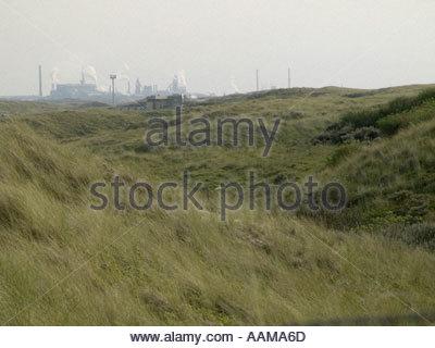 heavy industry seen from dune landscape Holland IJmuiden - Stock Photo