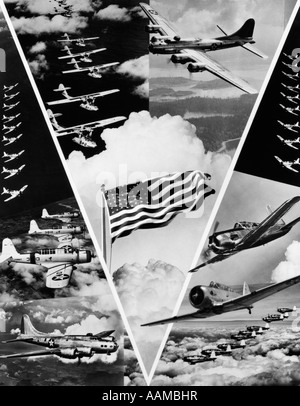 1940s WORLD WAR II VICTORY IN THE AIR MONTAGE IN SHAPE OF VEE WITH AMERICAN FLAG IN CENTER OF AVIATION MOTIF OF - Stock Photo