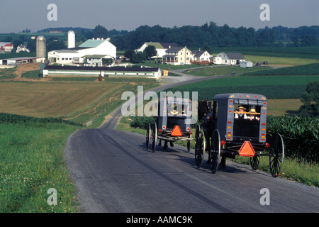 LANCASTER COUNTY PA AMISH CHILDREN RIDING IN HORSE DRAWN BUGGIES - Stock Photo